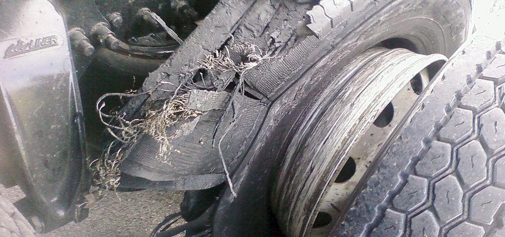 tire blowout aftermath