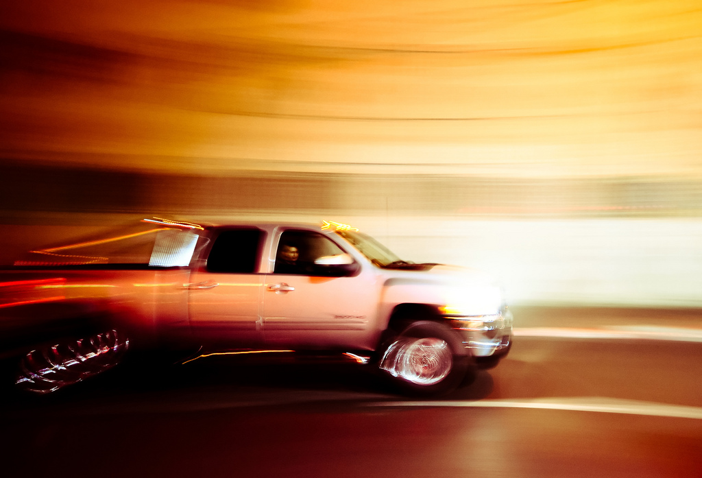 blurry truck speeding through a tunnel